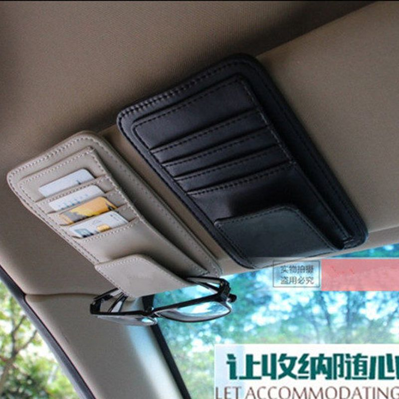 Freeshipping Car Vehicle Sun Visor Sunglasses Eyeglasses Glasses Holder Clip Credit Card Package ID Storage Bag With 3 Color
