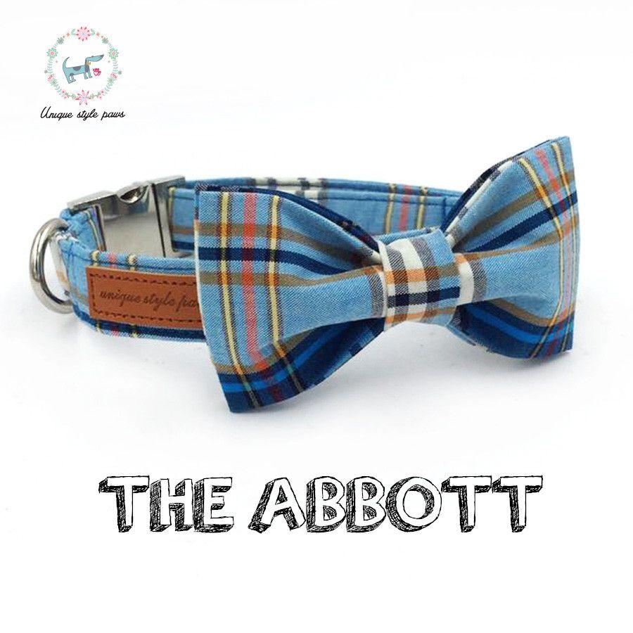 Collier de chien à carreaux bleu avec noeud papillon collier de base en coton pour chien et chat pour cadeau pour animaux de compagnie