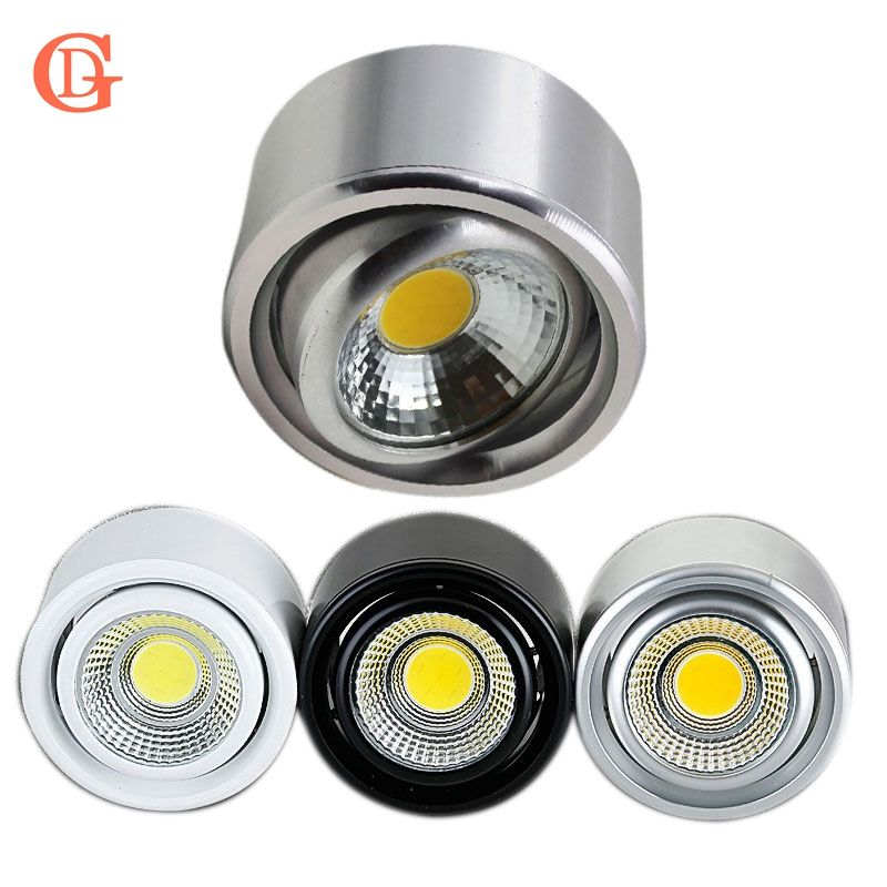 GD 5 w 7 w COB LED Downlight Dimmable Surface Monté Plafond Spot Light AC110V-220V Réglable Plafond Lampe W/ pilote Argent/B/W