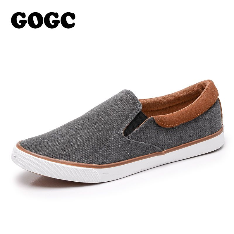 GOGC 2018 New Arrival Men Casual Shoes Canvas Male Footwear Comfortable Flat Sneakers Vulcanized Shoes Men Loafers Slipony