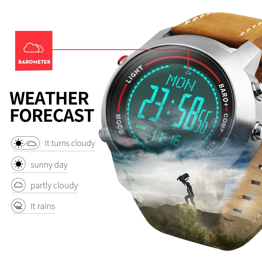 Sports Watches Men Outdoor LED Digital Wrist Watch Chronograph Compass Barometer Waterproof Leather Clock Male Relogio Masculino
