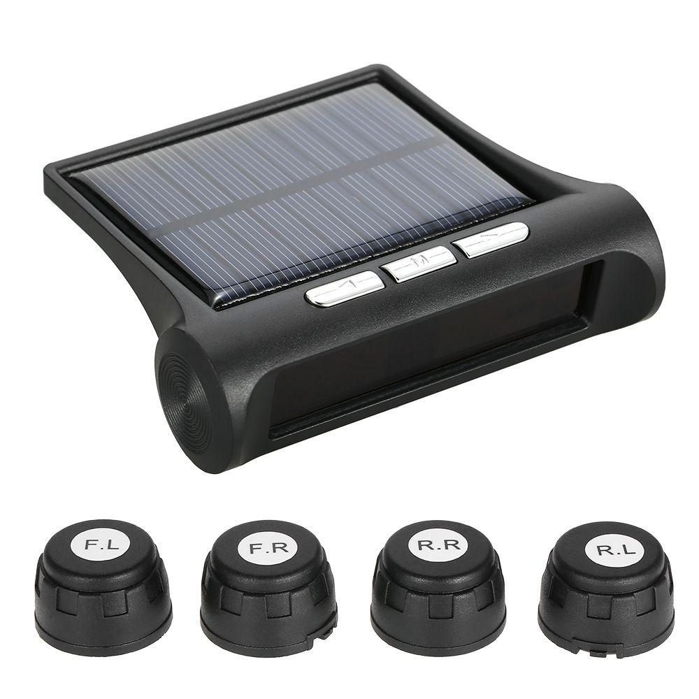 Universal Wireless Solar Car TPMS Tire Pressure Monitoring System Bar/PSI Unit with 4 Internal/External Sensors optional