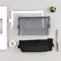 1 Pcs Transparent Grid Zipper Pen Bag Pencil Case Storage Package for Grils Korean Stationery School Supplies Free Shipping