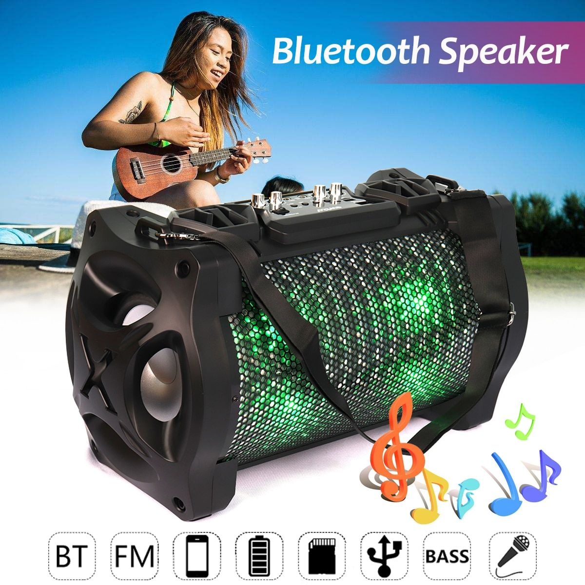Outdoor Portable Subwoofer Bluetooth Speaker Karabale with Microphone Super Bass Stereo FM Radio AUX/USB/TF Card Music Player