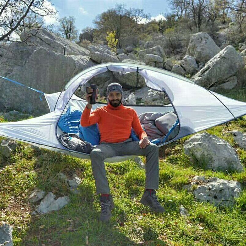 SKYSURF Camping Hängen Baum Zelt 2 Person Ultraleicht Dreieck Suspension Hängen Camping Zelt Tragbare Wasserdichte Hängematte Zelt