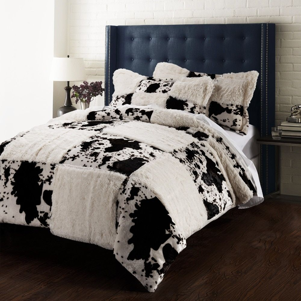 Printing Pv velvet Quilt Cover Set cow incluidng 1 duvet cover 2 pillowsham