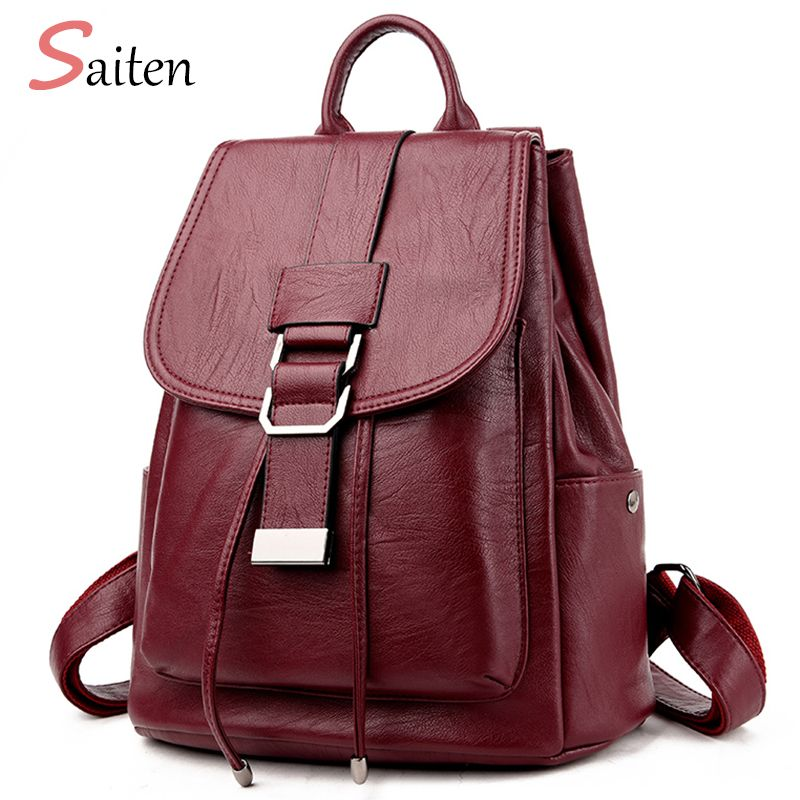 Women Backpack New Arrival 2017 Simple Casual School Bag Medium Size Leather Backpack Girl Daily Bag Travel Bags baobao mochila
