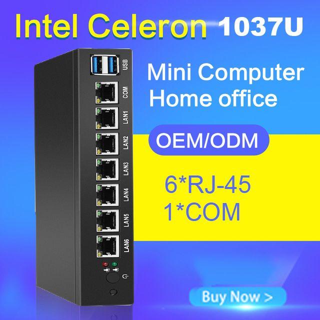 Soft Router Mini PC 1037U 1007U 6 Ethernet Gigabit LAN Intel NIC Multi Network COM Serial USB Ports Industrial PC run Pfsense