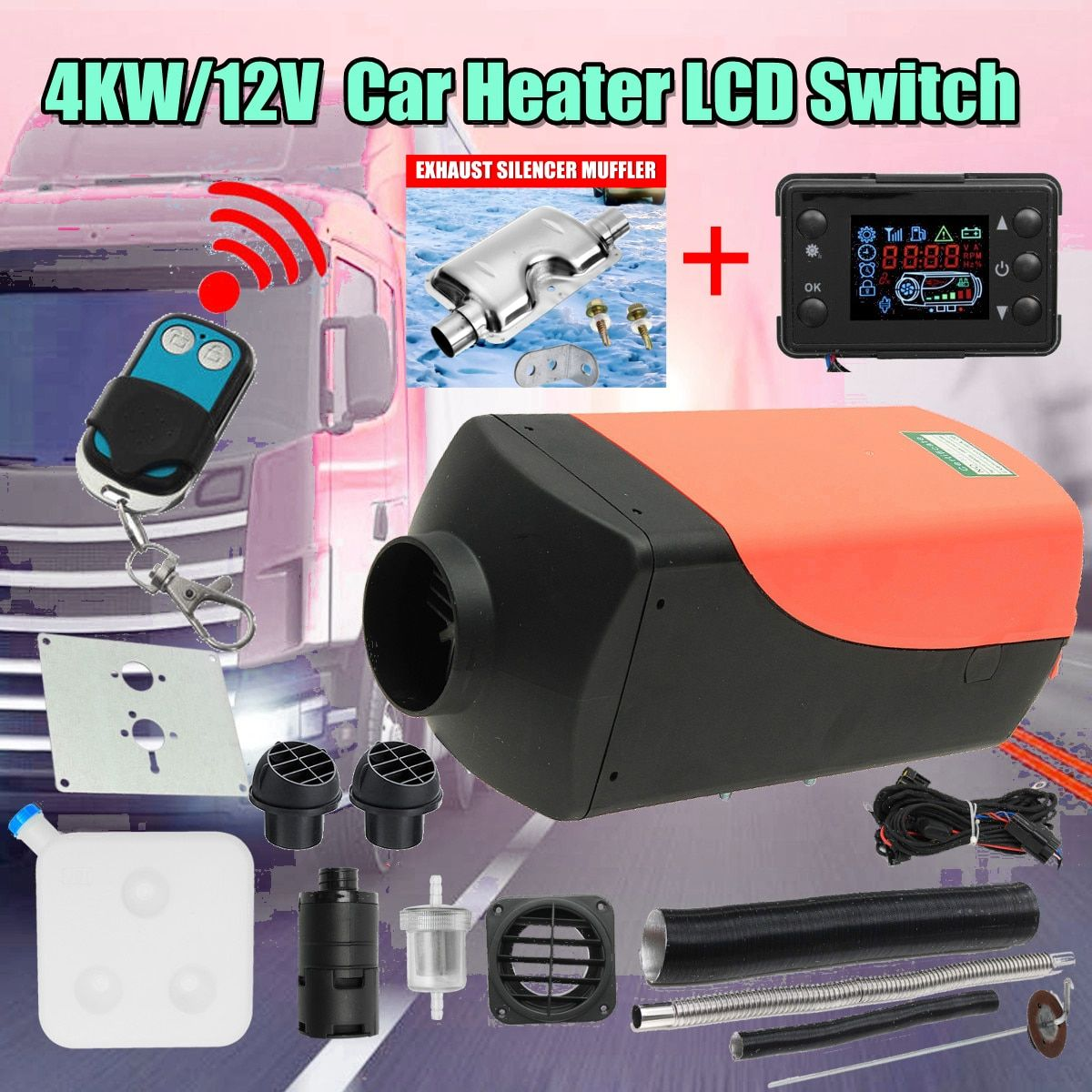 CAN Car Heater 4KW 12V Air Diesels Heater Parking Heater With Remote Heater LCD Monitor