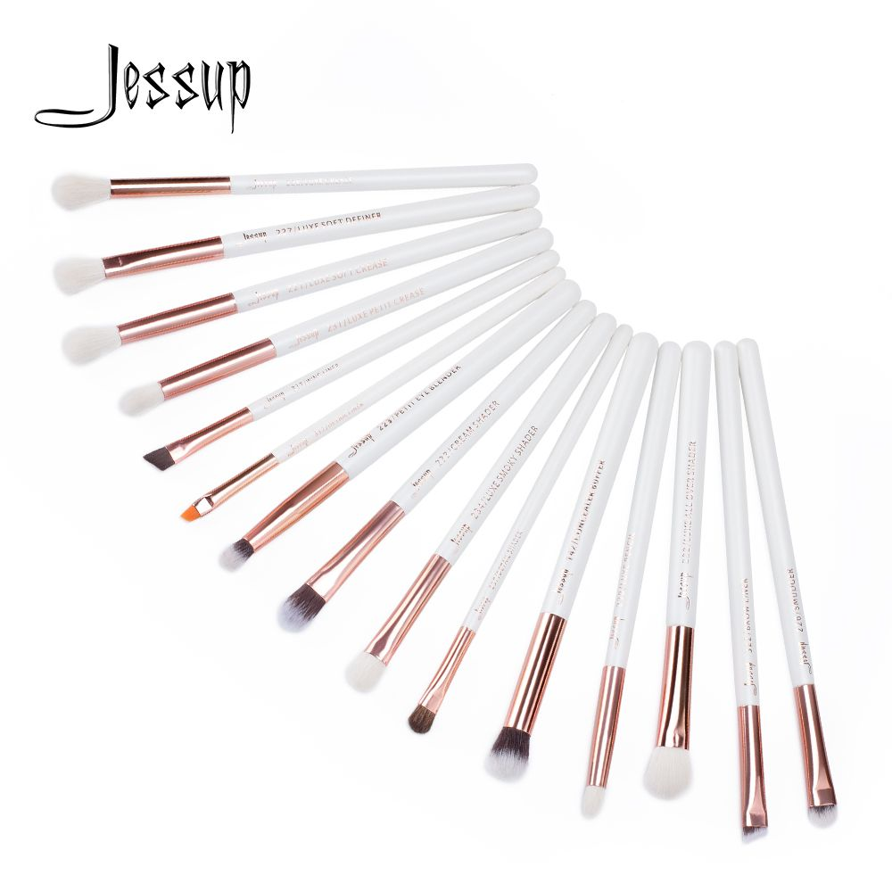 Jessup 15 pcs maquillage brosses ensemble Perle Blanc/Rose Or pinceaux maquillage maquillage Brosse Outils kit Eye Liner Shader correcteur T217