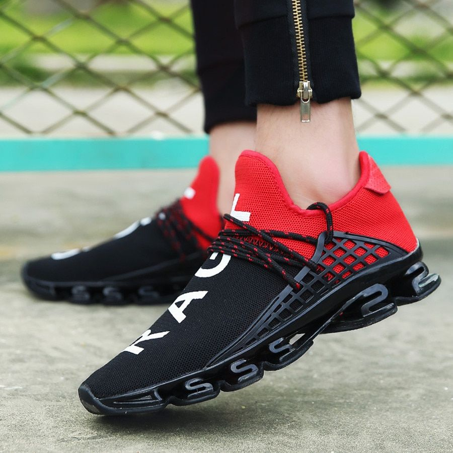 2018 White/black/red Men's Spring Breathable Mesh Sport Lace-up Running Shoes Size 36-44 Couple Exercise Cushion Sneakers Shoes