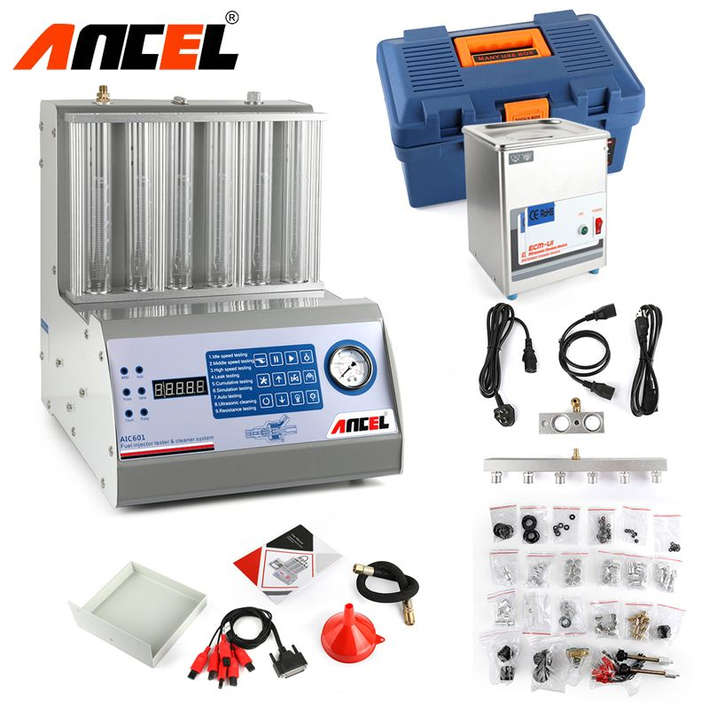 Ancel AIC601 Universal Car Ultrasonic Fuel Injector Cleaner Tester With Panel for 6 Cylinders Injector Washing Tool as CNC-602A