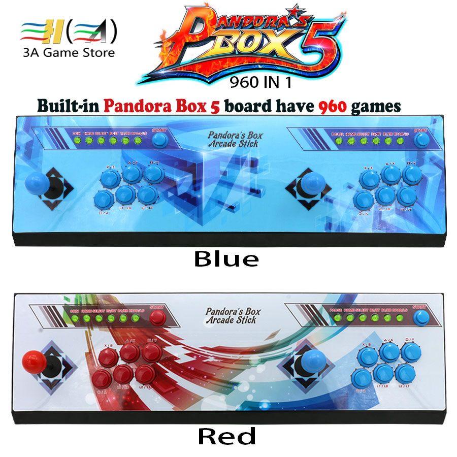Büchse der Pandora 5 960 in 1 Rot/Blau Aufkleber arcade konsole 2 spieler pandora box 5 960 spiele kinder spielmaschine controller kit