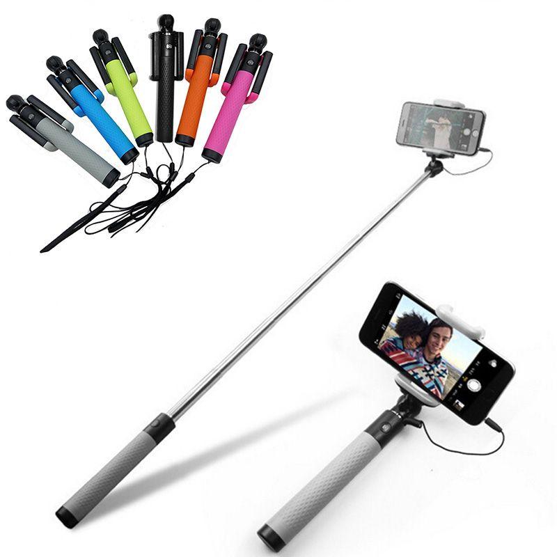 Vente chaude 185mm-820mm Filaire Mini Portable Selfie Bâton Extensible Monopode Pour Iphone 6 6 S 6 PLUS Samsung Xiaomi Android Téléphones