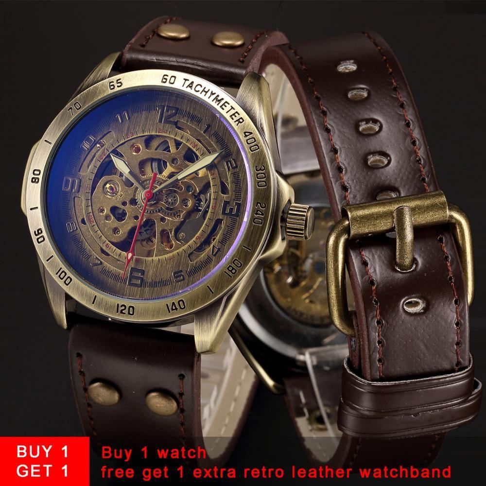 Squelette automatique montre mécanique hommes Bronze Steampunk montre hommes Transparent rétro cuir Vintage montres horloge montre homme
