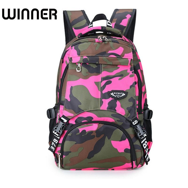 Camouflage Dot Colorful Unique Printing Bookbag Women Oxford Waterproof Child Backpack Large Capacity Schoolbag for Girls