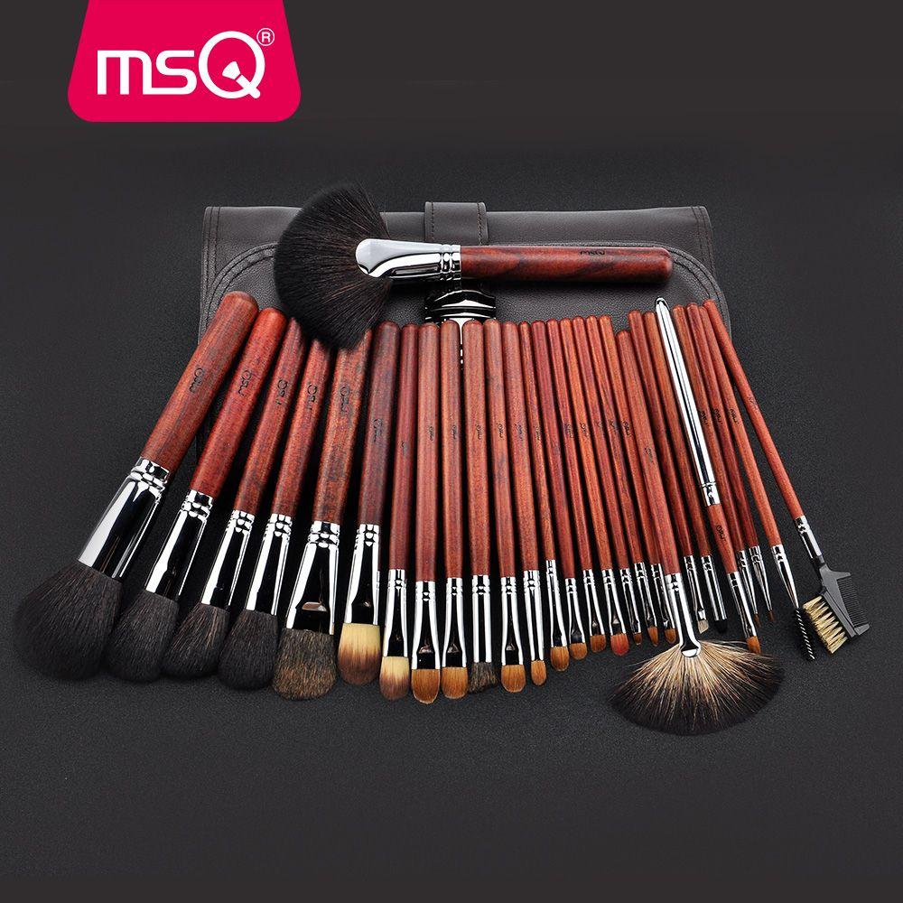 MSQ Pro 28pcs Makeup Brushes Set Powder Foundation Eye Shadow Makeup Brush Lip Blusher Cosmetics Tool High Quality Natural Hair