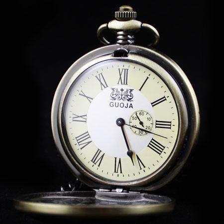 Bronce Antiguo de madera esqueleto reloj de bolsillo mecánico freeship