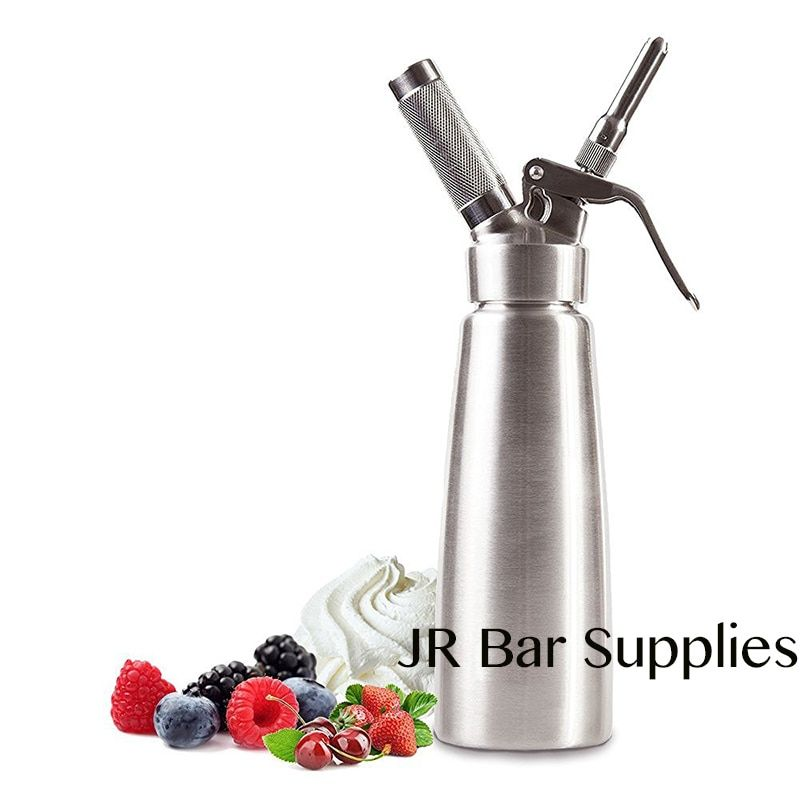 Military Grade Stainless Steel 1 pint (500ml)Whipped Cream Dispenser/Cream Whipper with 3 Decorating Nozzles