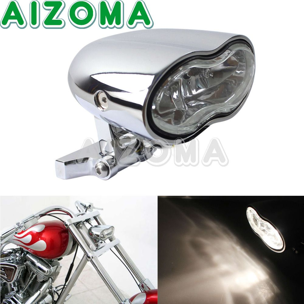 Choppers Motorcycle Universal Chrome Wave Billet Custom Oval Headlight Twin Halogen Lamp For Harley Honda Suzuki Yamaha Triumph