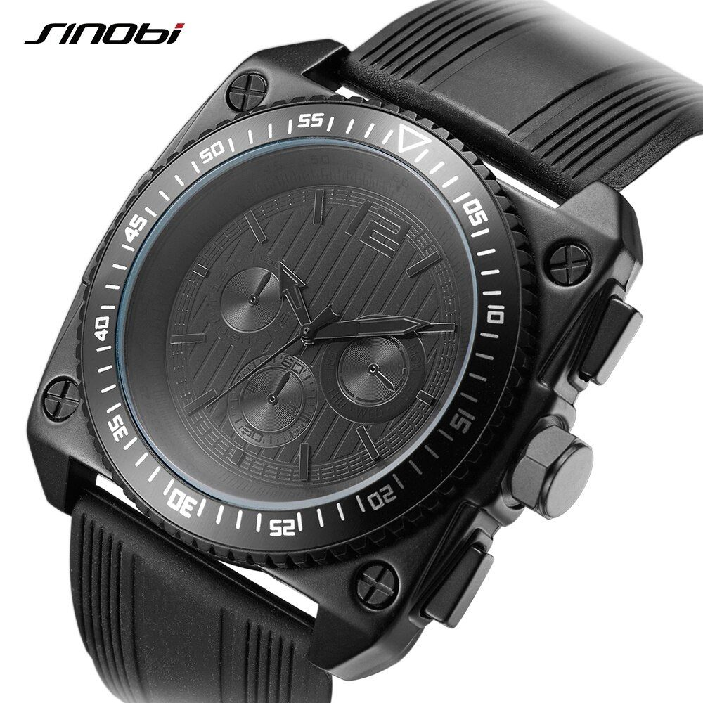 SINOBI 9669 Men's Military Design Square Watches with Soft Silicone Strap with Gift Box Quartz Watch Dropshipping Accept relogio