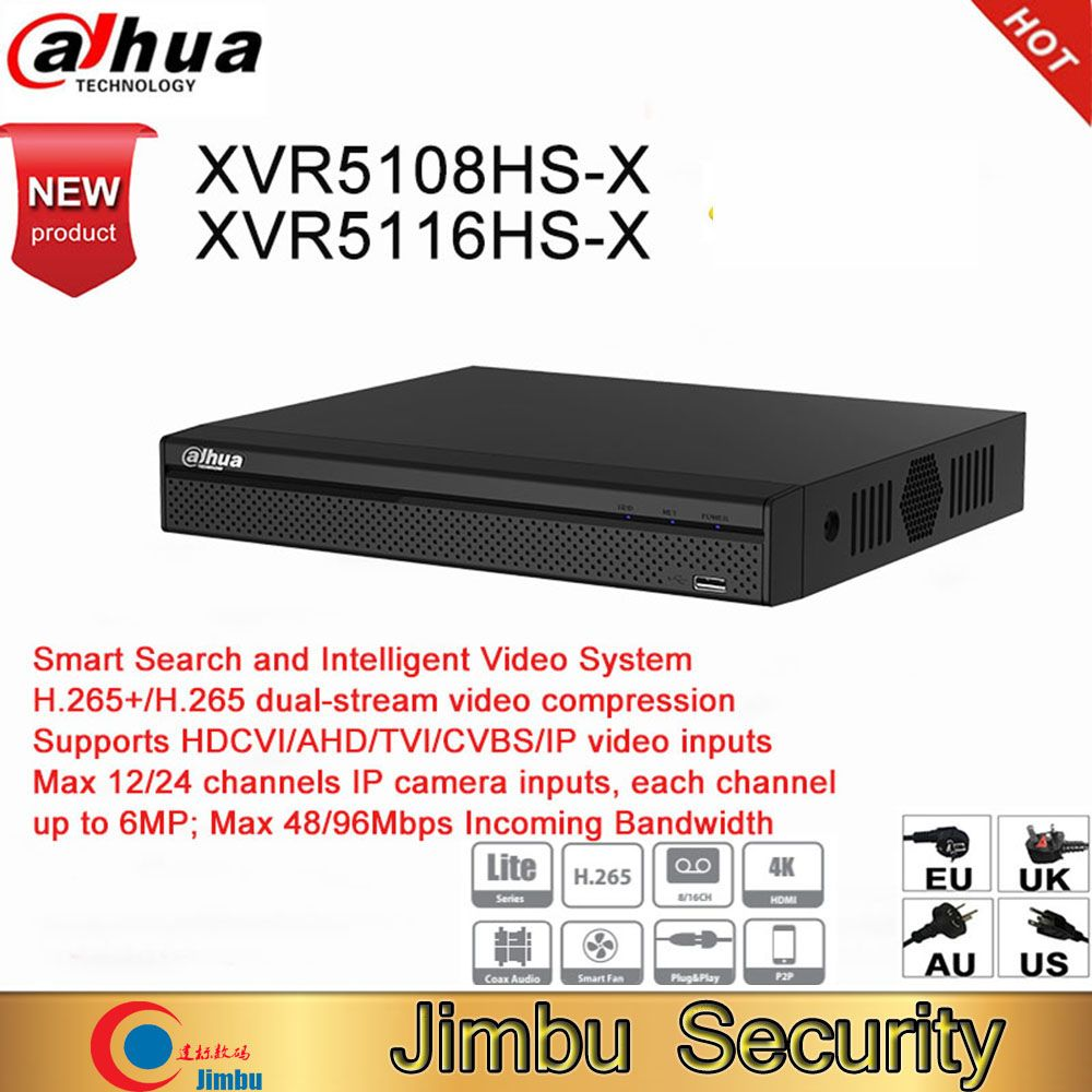 Dahua DVR XVR5108HS-X XVR5116HS-X 8ch 16ch Up to 6MP H.265S mart Search Digital Video Recorder work with dahua hdcvi camera AHD