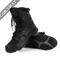 CQB. SWAT Sepatu Tentara Tempur Militer Taktis Mens Angkatan Hitam Ritsleting Kulit Sapi Boot sepatu tinggi dan rendah ZD-080