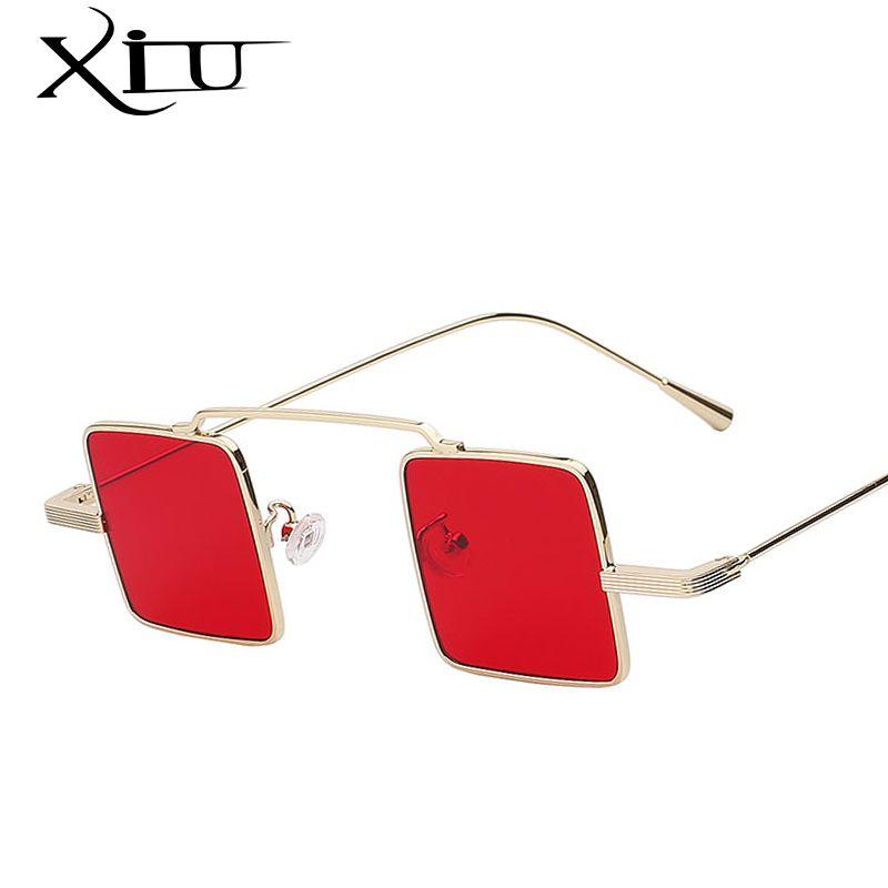 XIU Unique Vintage lunettes de Soleil Hommes Carré Shades Classique Steampunk lunettes de Soleil Femmes Marque Designer De Mode Mer Couleur Lentille UV400