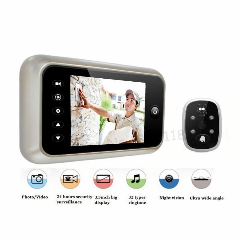 New 3.5 LCD Color Screen Electronic Door <font><b>Bell</b></font> Viewer IR Night Door Peephole Camera Photo/Video Recording Digital Door Camera