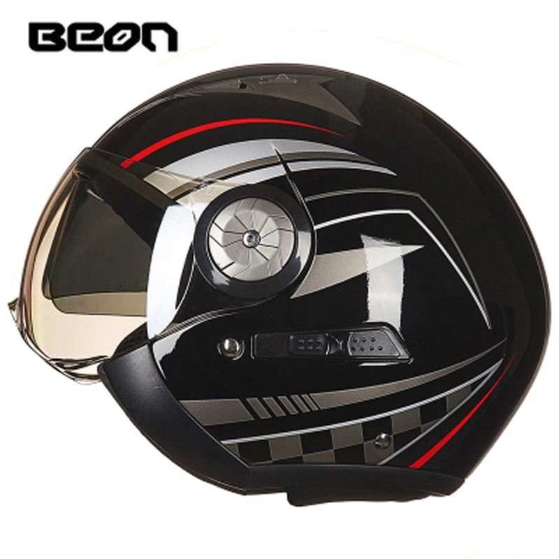 New BEON open face 3/4 moto helmets vintage men women double visor motorcycle motorbike helmet