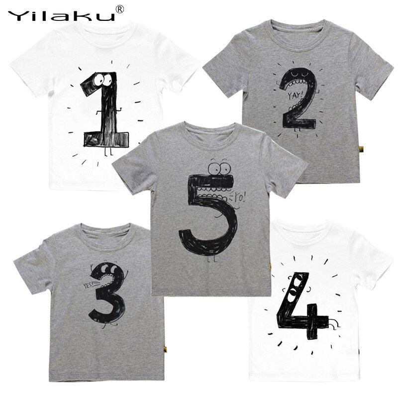 Yilaku Garçons t Shirts Imprimer T shirt Pour Enfants D'été T-shirts nombre pour L'âge Drôle D'anniversaire T-shirts Enfants Garçons Casual Tops CG052