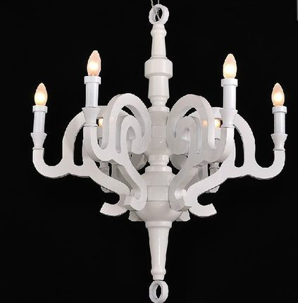 Vintage white candle wood bedroom chandelier restaurant bar artistic individuality soft resins chandelier E14 bulb Dia550mm