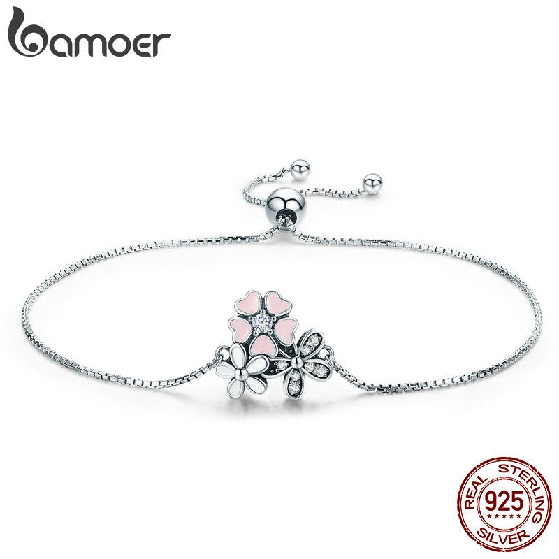 BAMOER Fashion New 100% 925 Sterling Silver Cherry Daisy Flower Chain Link Women Bracelet Sterling Silver Jewelry Gift SCB055