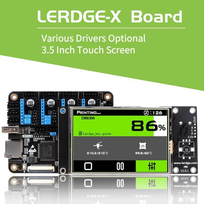Carte de contrôleur d'imprimante 3D de LERDGE-X pour la carte mère de pièces d'imprimante de contrôle avec le conducteur de la carte mère tmc2208 lv8729 a4988 de bras 32Bit
