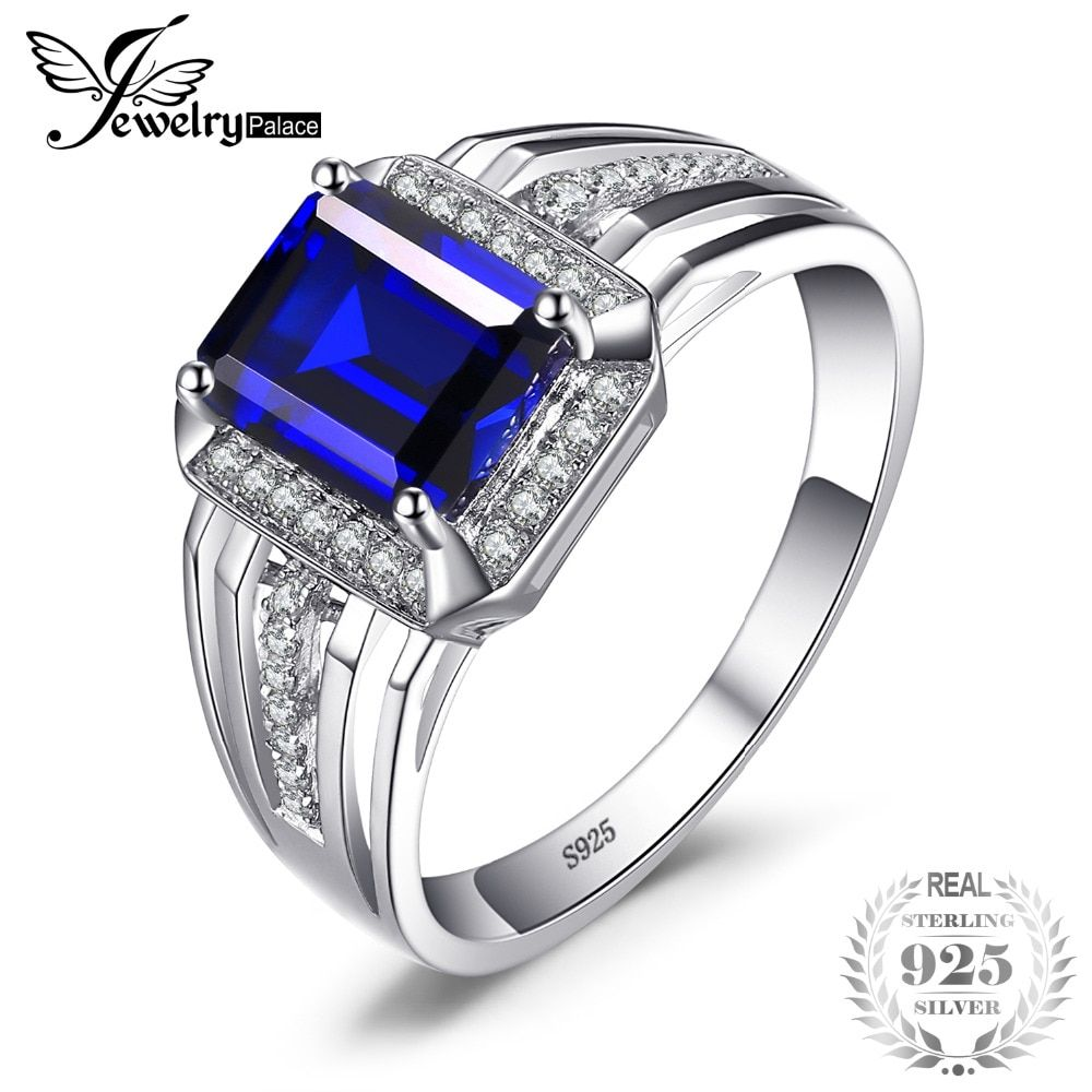Jewelrypalace Luxury 4.6ct Created Blue Sapphire Wedding and Engagement Ring For Men Genuine 925 Sterling Sliver 2018 New