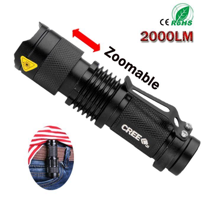 CREE Q5 2000 люмен светодиодный фонарик УФ Факел Lanterna тактический пальчиковые масштабируемой фиолетовый