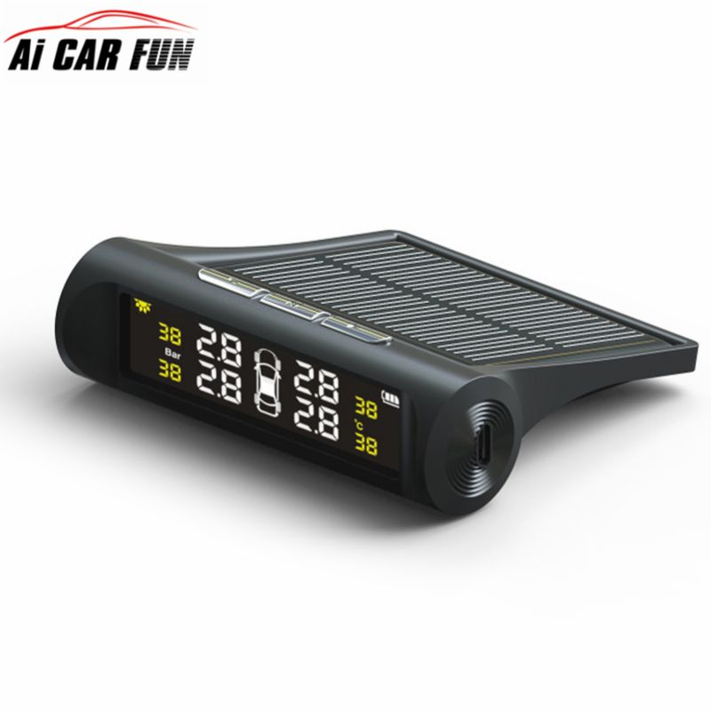 New TPMS Car Tire Pressure Monitoring System TP880 LCD Display Auto Alarm System Solar Energy Diagnostic Tool 4 External Sensors