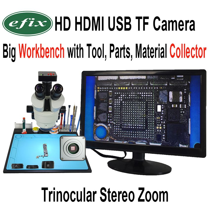 efix 20MP 3.5-90X Soldering Trinocular Stereo Continues Zoom Microscope HDMI USB TF Workbench for Repair iPhone Tools Kits