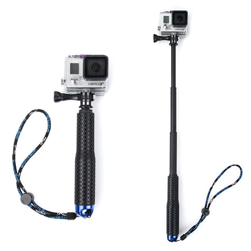 1 Set Extendable Pole Mini Selfie Stick Waterproof Monopod Blue For GoPro Hero 4/3/3+ New