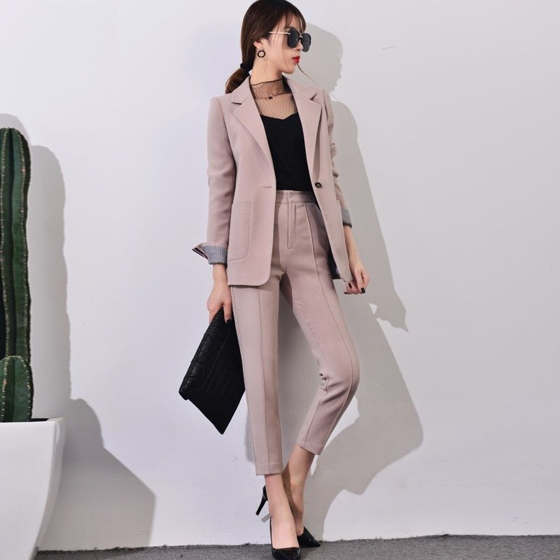 2017 New Pant Suits Women Casual Office Business Suits Formal Work Wear Sets Uniform Styles Elegant Pant Suits Summer Spring