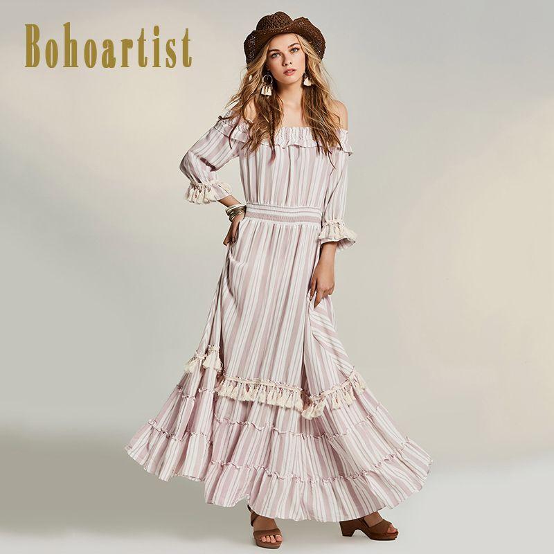 Bohoartist Otoño Patchwork Maxi Vestido de Volantes Raya de Slash Cuello Hombro de Alta Calidad de Las Mujeres de Bohemia Vestido Maxi Elegante Nuevo