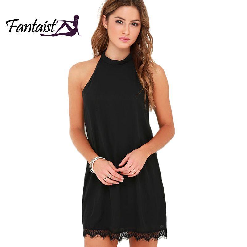 Fantaist femmes été élégant Cocktail soirée boîte de nuit sans manches licou cou petit noir décontracté lâche Mini dentelle robe droite