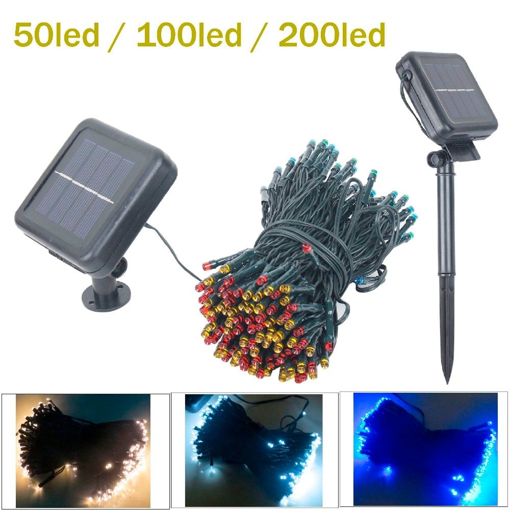 50LED/100/200 LED Solar Lamps LED String Fairy Lights Garland Christmas Solar Lights for wedding garden party Decoration Outdoor