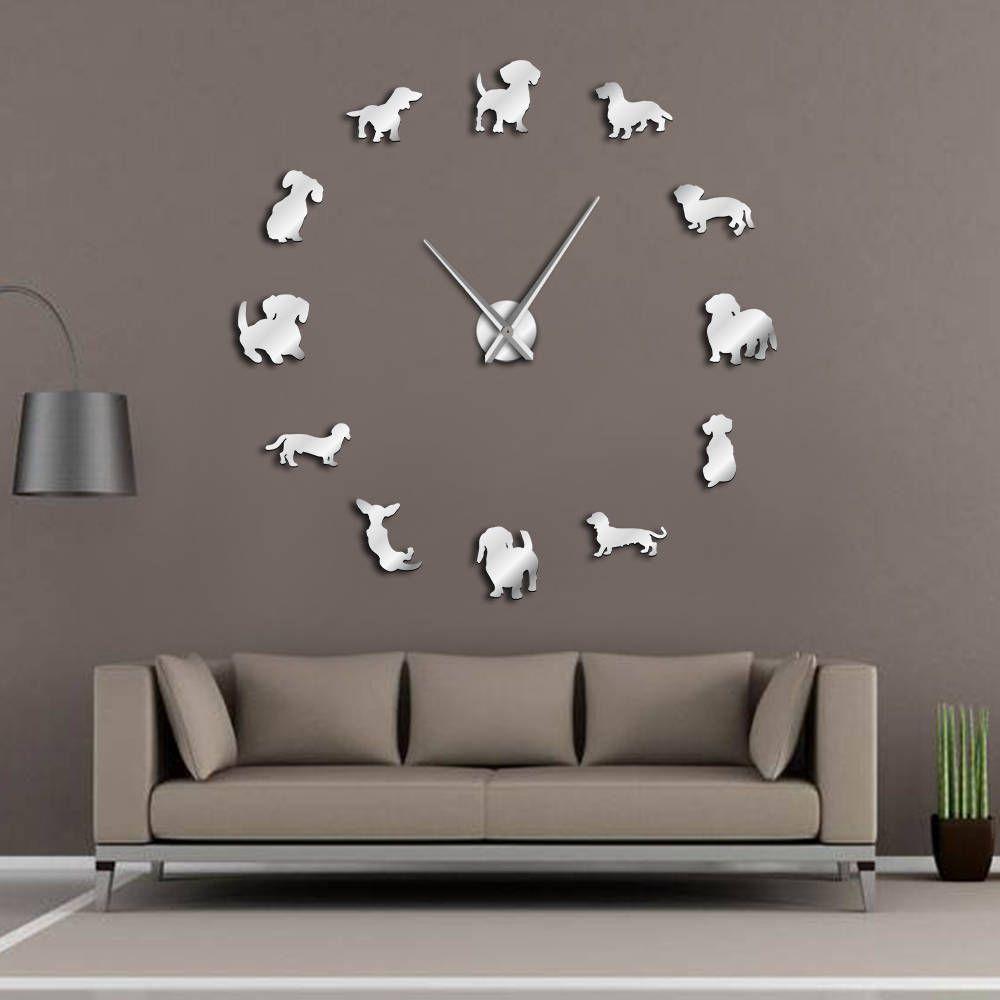 Bricolage teckel mur Art wiener-chien chiot chien Pet sans cadre géant horloge murale avec effet miroir saucisse chien grande horloge murale montre
