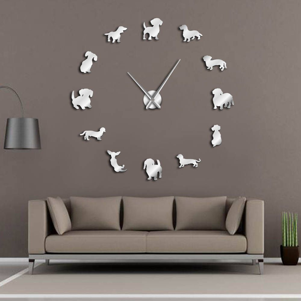 DIY Dachshund Wall Art Wiener-Dog Puppy Dog Pet Frameless Giant Wall Clock With Mirror Effect Sausage Dog Large Clock Wall Watch