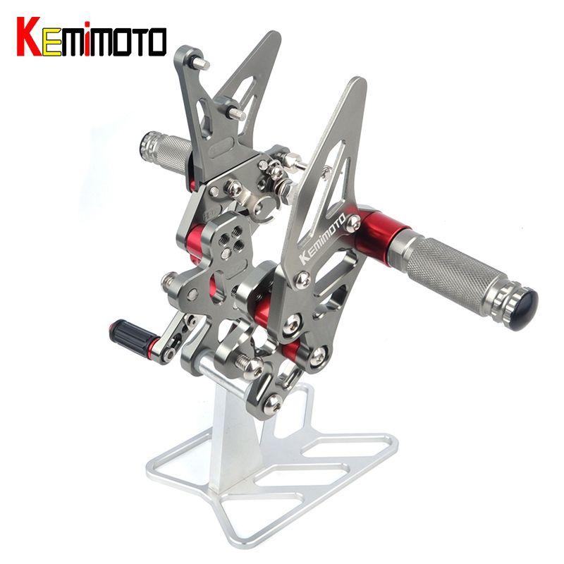 KEMiMOTO Moto Accessories CNC Adjustable Rearset Foot Rest For SUZUKI GSX-R600 GSX-R750 GSXR 600 750 2011 2012 2013 2014 2015