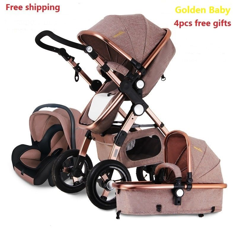 Free shipping Baby Stroller Higher Land-scape Golden baby 3 in 1 Portable Folding Stroller 2 in 1 Luxury Carriage