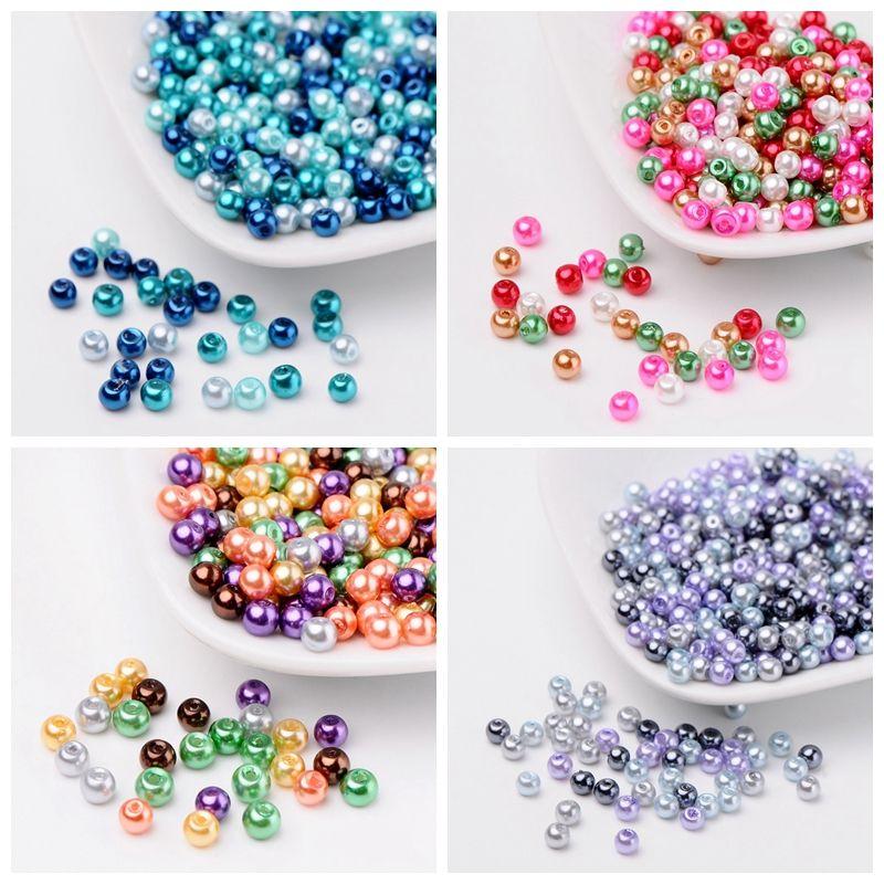 4/6/8mm mélange chaud perle de verre nacré lâche fabrication de Bijoux bricolage Bijoux accessoires résultats perles de balle pour Bracelet collier