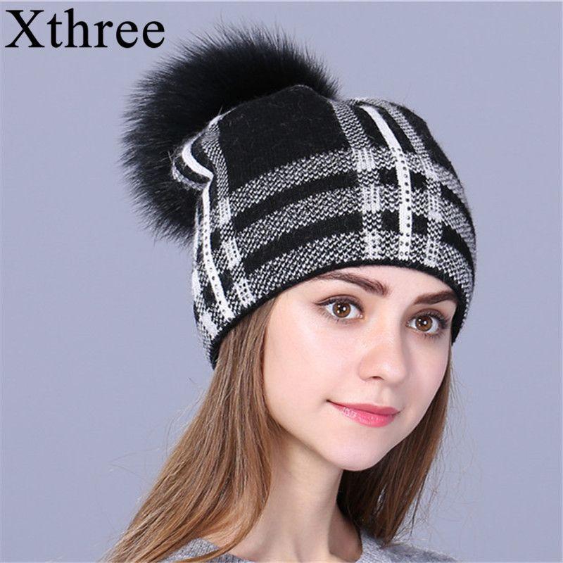 Xthree женщин на осень-зиму шапка для девочки вязаные шапочки Hat 2017 новая мода женские Skullie для девочек Шерстяная кепка
