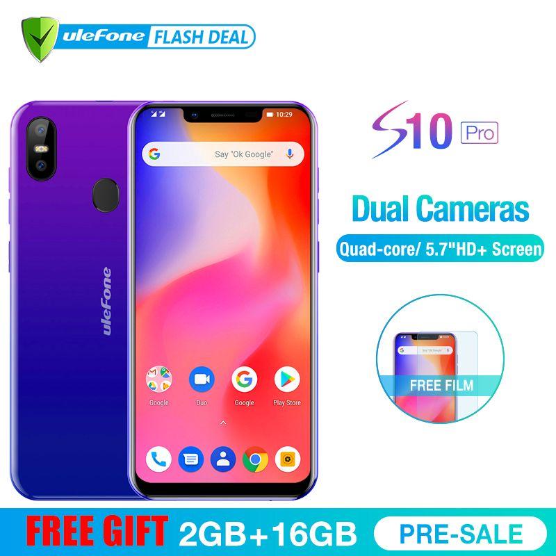 Ulefone S10 Pro Mobile Phone Android 8.1 5.7 inch MT6739WA Quad Core 2GB RAM 16GB ROM 16MP+5MP Rear Dual Camera 4G Smartphone